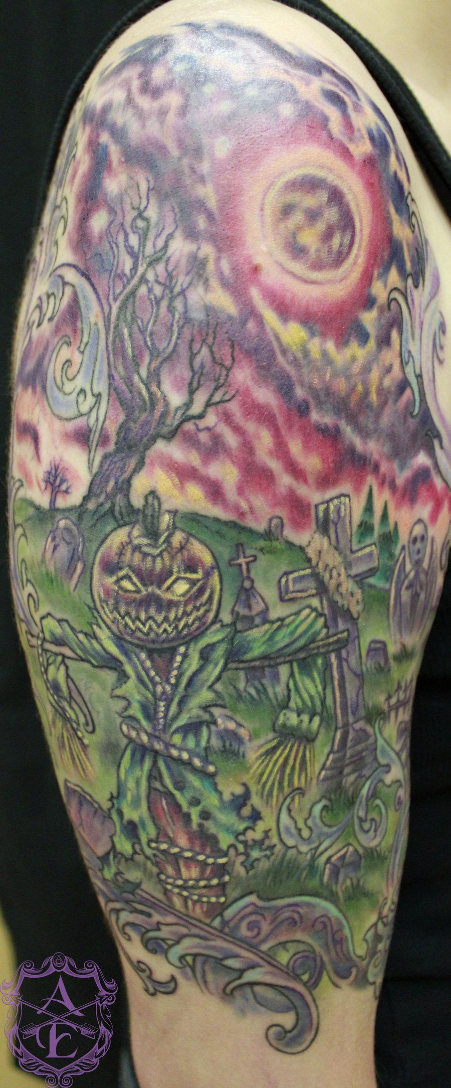 Cemetery and graveyard tattoo on half sleeve - Halloween Graveyard Tattoo On Right Half Sleeve