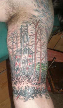 Left Bicep Graveyard Tattoo