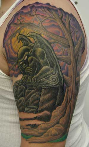Left Half Sleeve Graveyard Tattoo For Men
