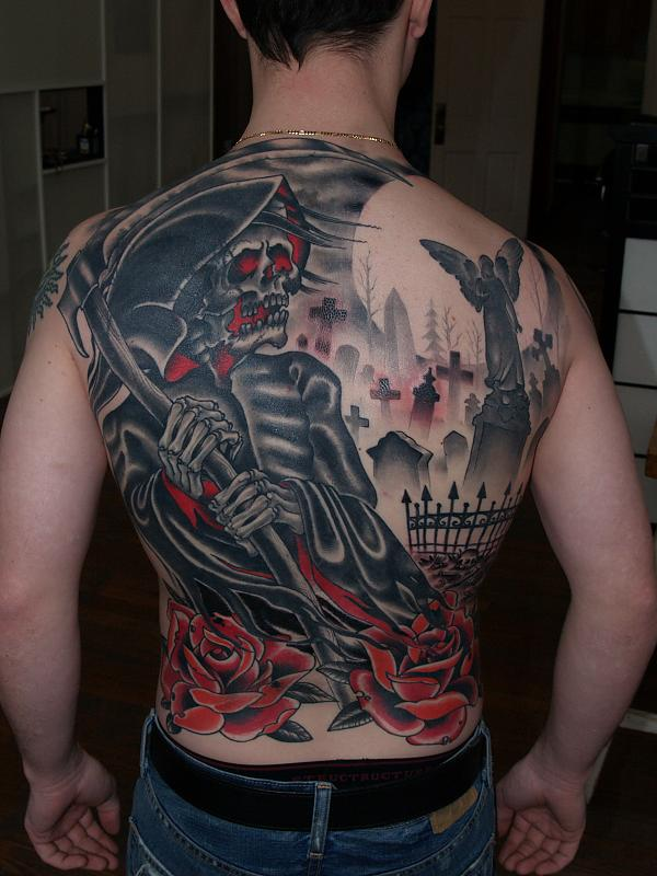 Man BAck Body Graveyard Tattoo