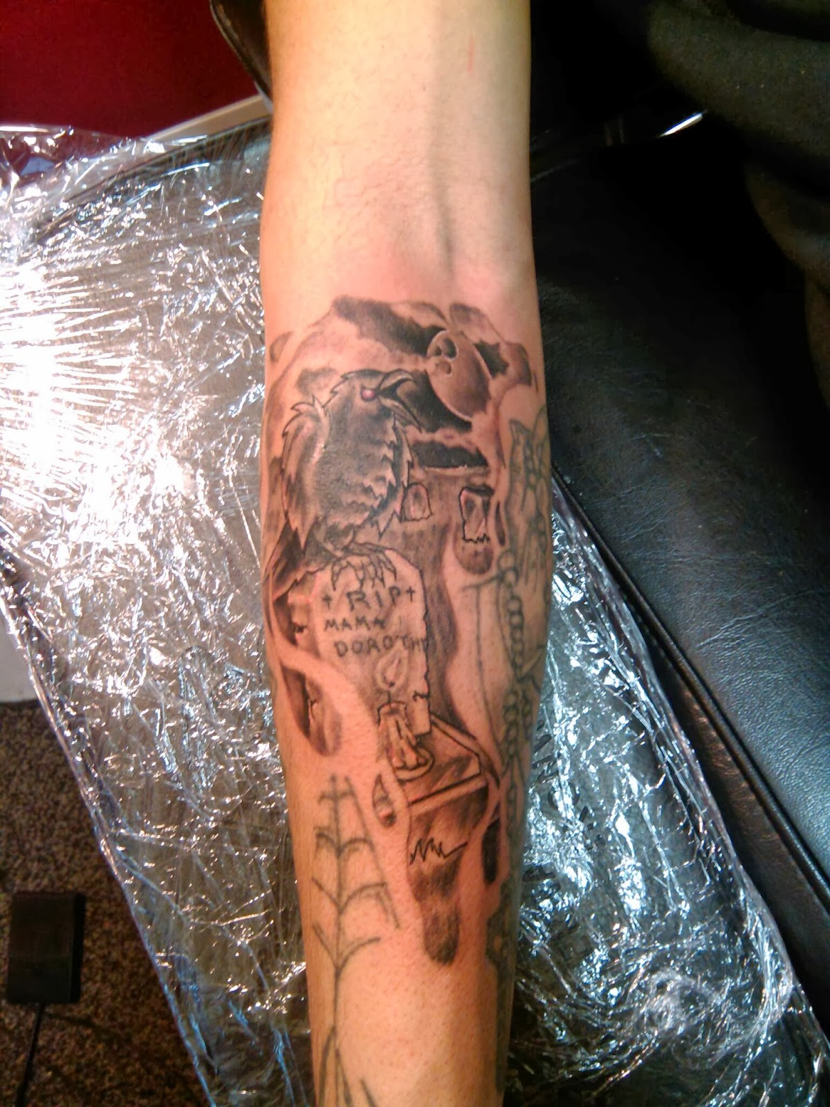 Graveyard tattoo images designs for Right arm tattoos