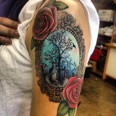 Rose Flowers and Graveyard Tattoo On Left Half Sleeve