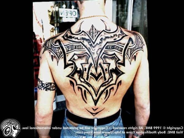 Tribal Graveyard Tattoo On Back