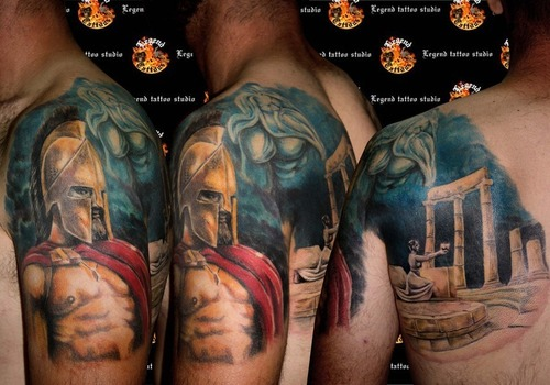 colored greek tattoo on left half sleeve. Black Bedroom Furniture Sets. Home Design Ideas