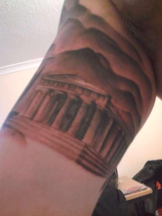 Greek Temple Tattoo On Right Half Sleeve