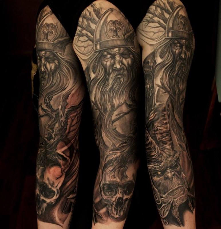 Grey Ink Greek Tattoo On Full Sleeve