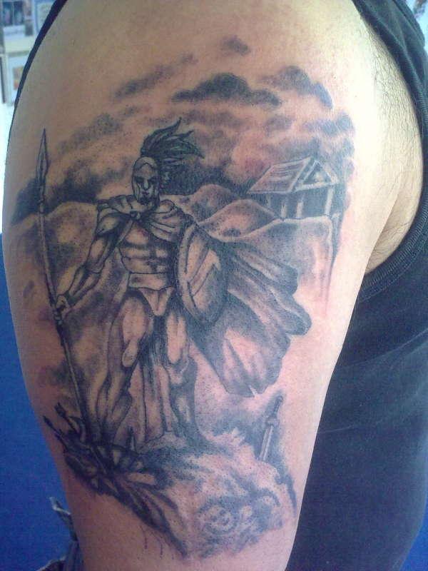 Grey Ink Spartan Greek Tattoo On Right Half Sleeve