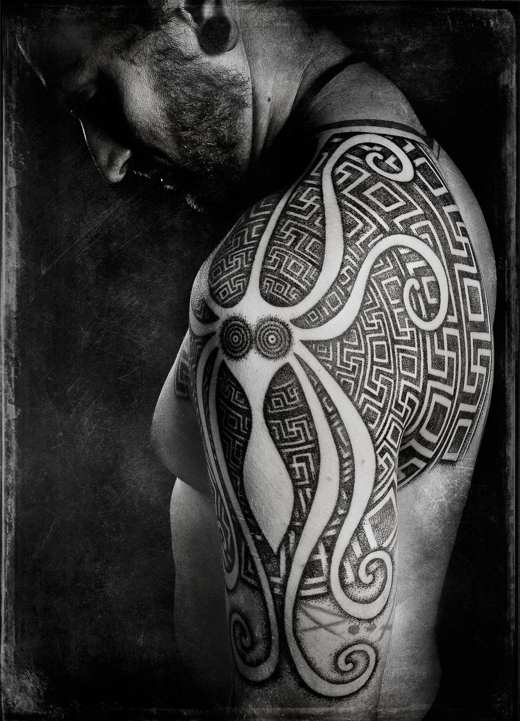 Man Left Half Sleeve Greek Tattoo