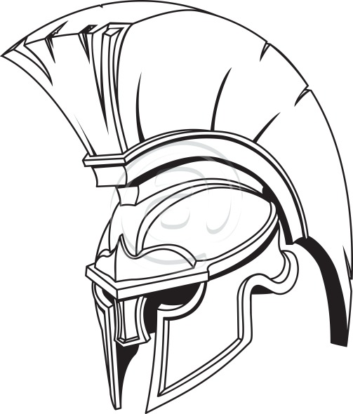Helmet Outline Outline Greek Warrior Helmet
