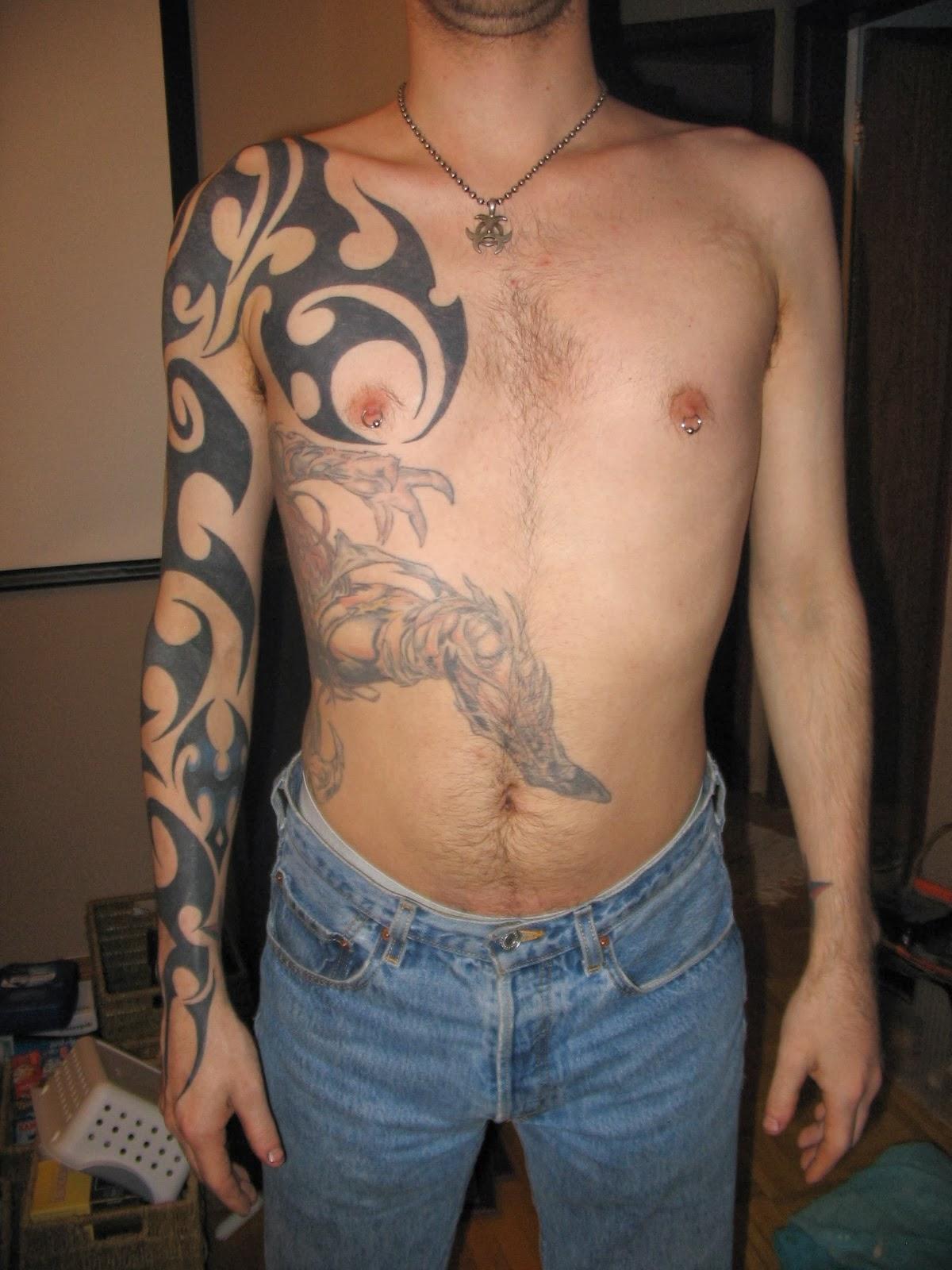 tribal greek tattoo on man right sleeve. Black Bedroom Furniture Sets. Home Design Ideas