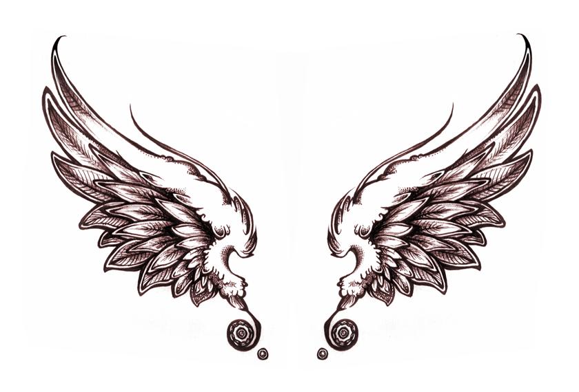 Awful Grey Ink Wings Tattoo Design