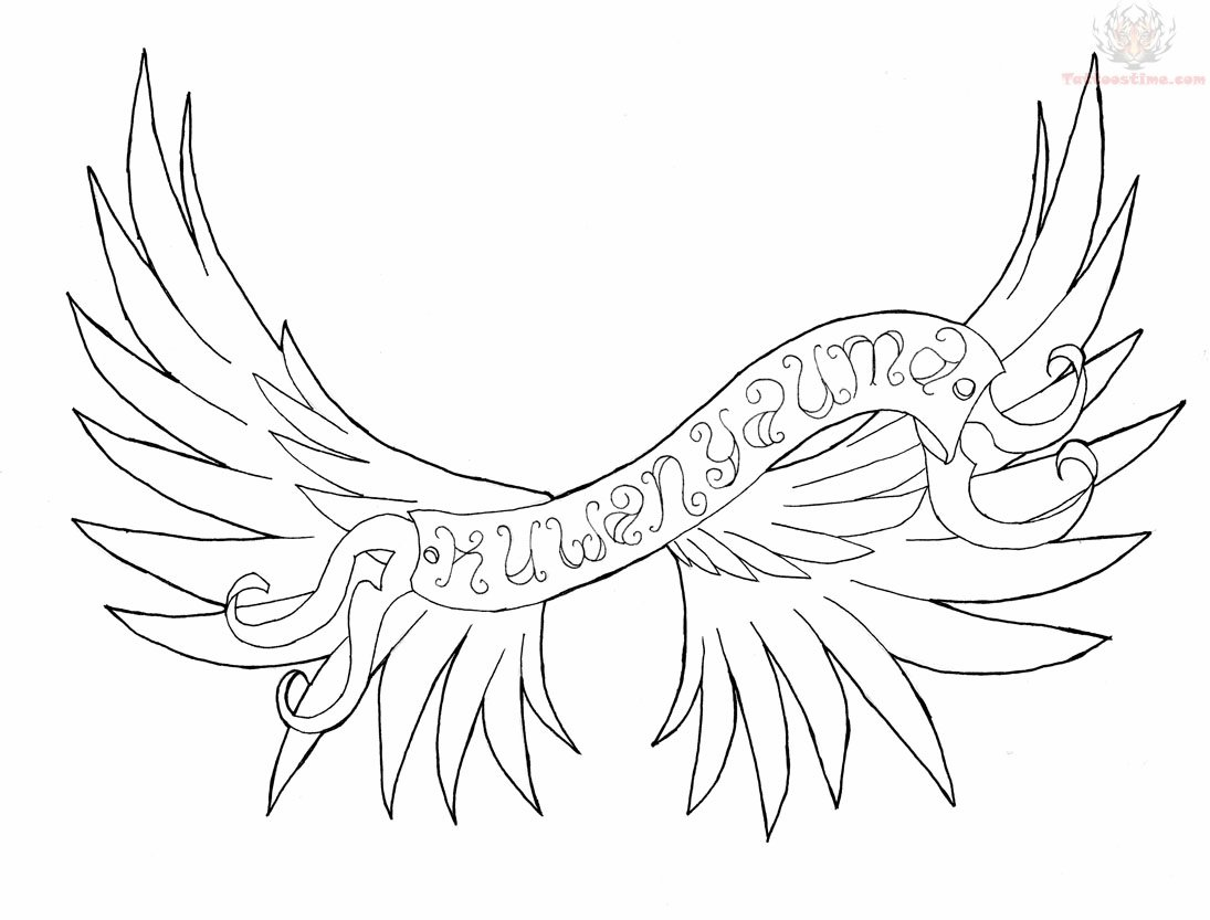 banner and angel wings tattoo design