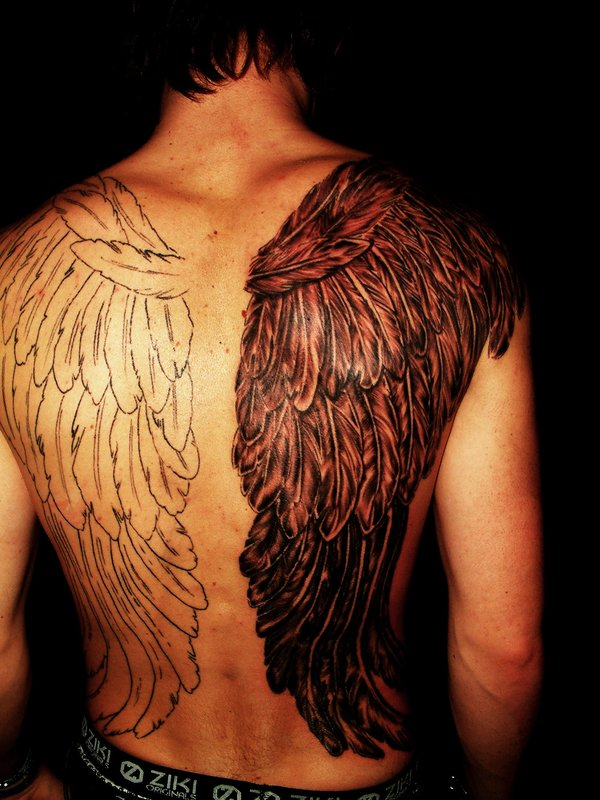 4359af6e2 Black And White Wings Tattoo On Back