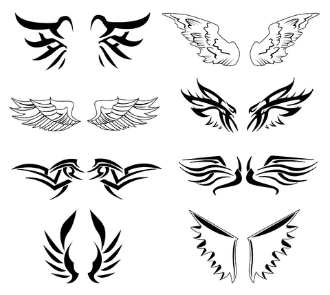 Black Ink Little Angel Wings Tattoos Designs