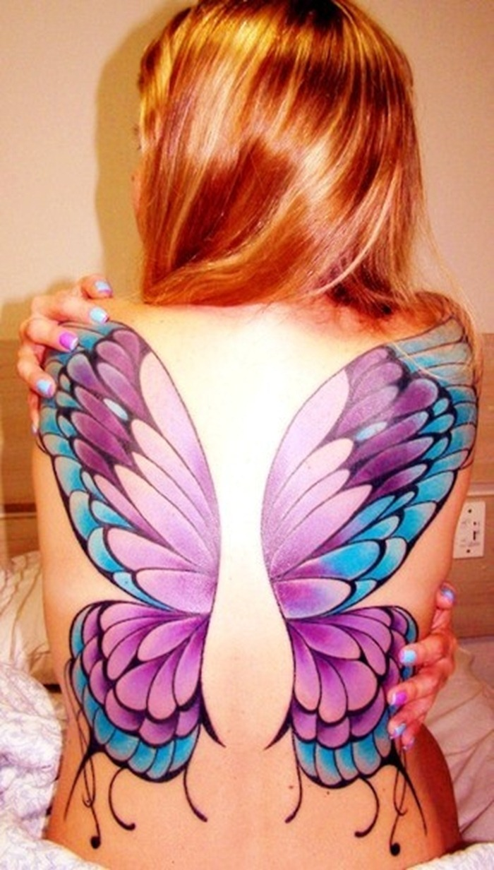 Butterfly Wings Tattoos On Back