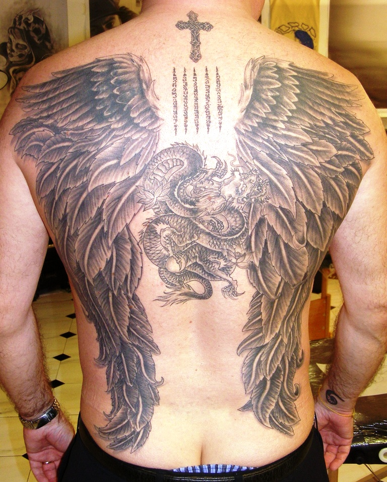 Cross And Angel Wings Tattoos On Back For Men
