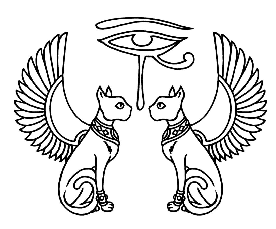 egyptian eye of horus with winged cats tattoos designs