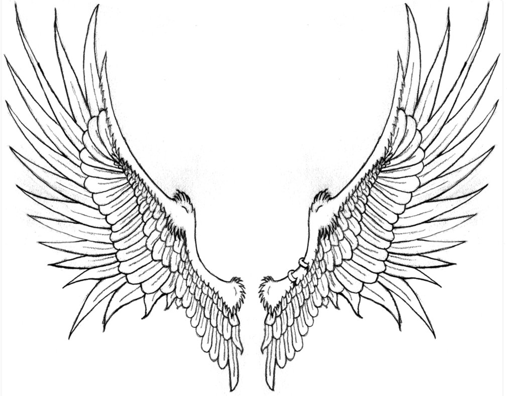 Grey Ink Angel Wings Tattoos  Eagle Wings Drawing