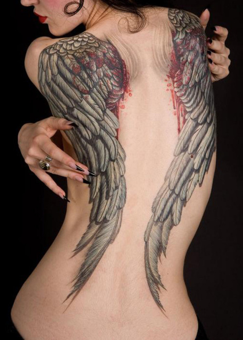 Grey Ink Bleeding Wings Tattoos On Back