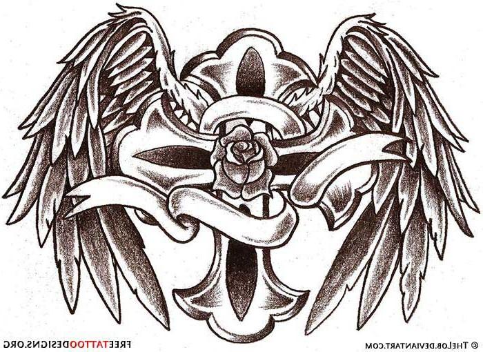 Grey Ink Cross And Angel Wings Tattoos Designs