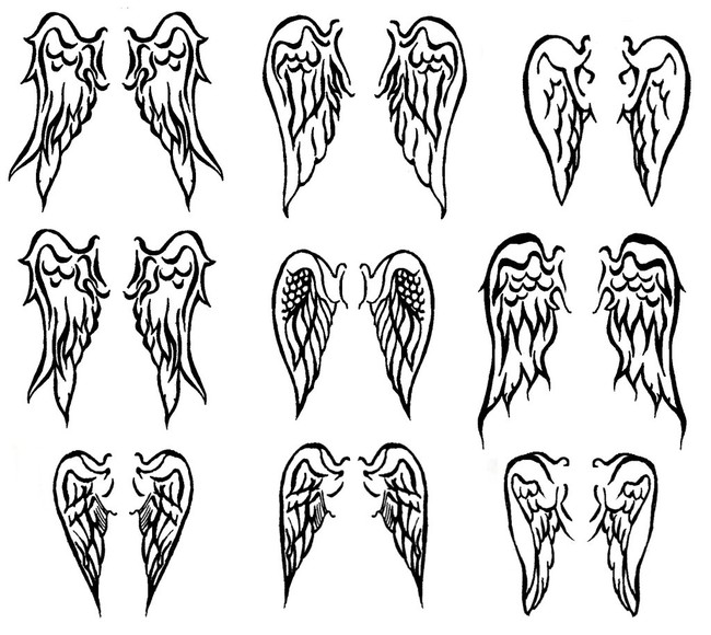 Grey Ink Small Wings Tattoos Designs For Girls