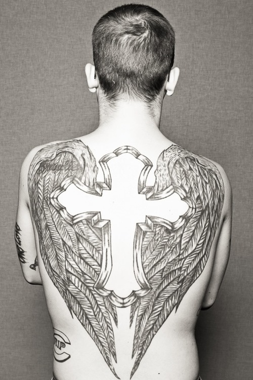 Wings tattoo images designs for Big cross tattoos