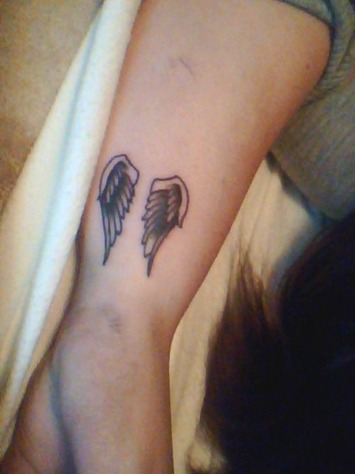 Left Wrist Angel Wings Tattoo