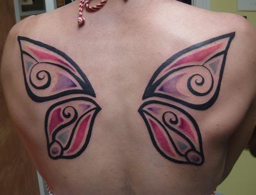 Quality Butterfly Wings Tattoo On Back