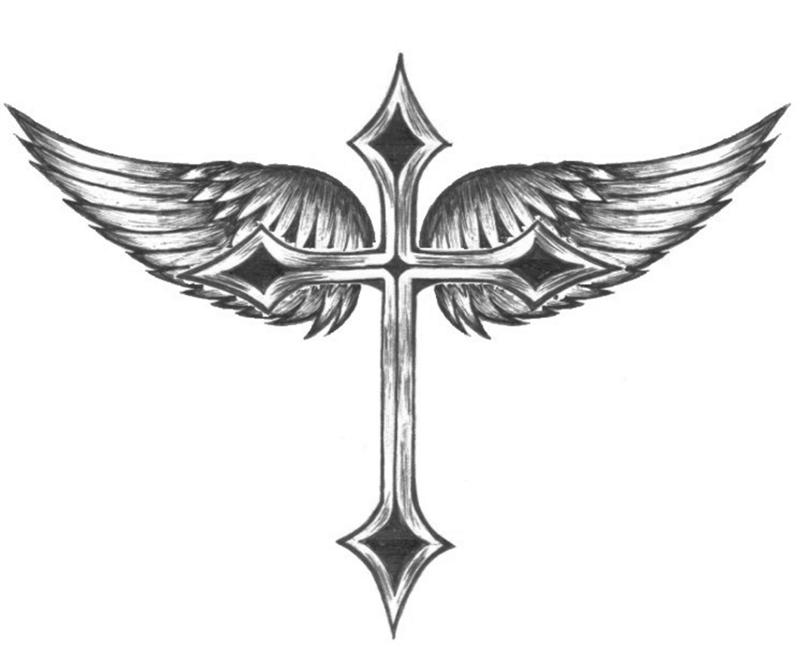 Winged Cross Wings Tattoo