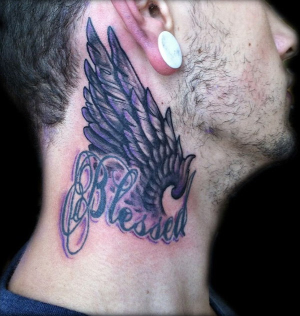 Wings Tattoo On Side Neck For Men