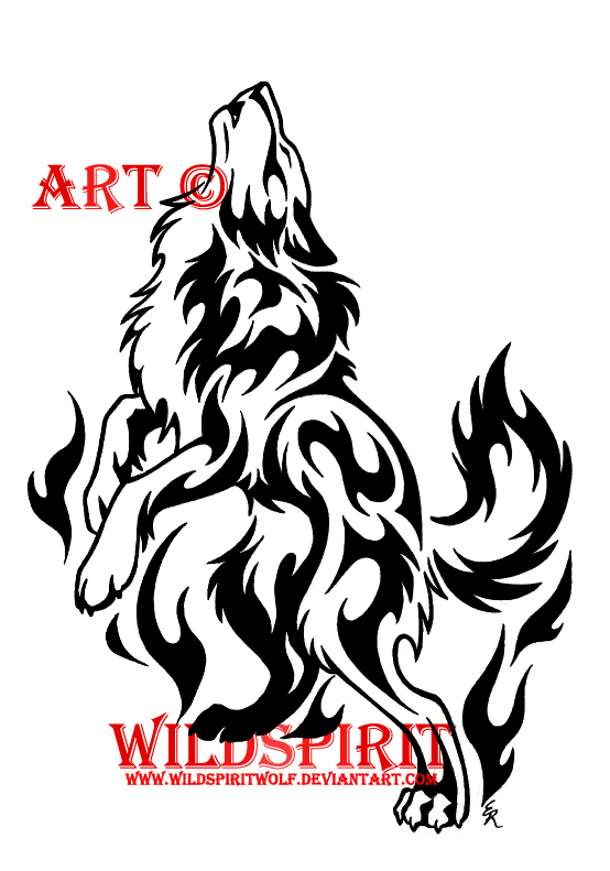 amazing black tribal wolf tattoo design. Black Bedroom Furniture Sets. Home Design Ideas