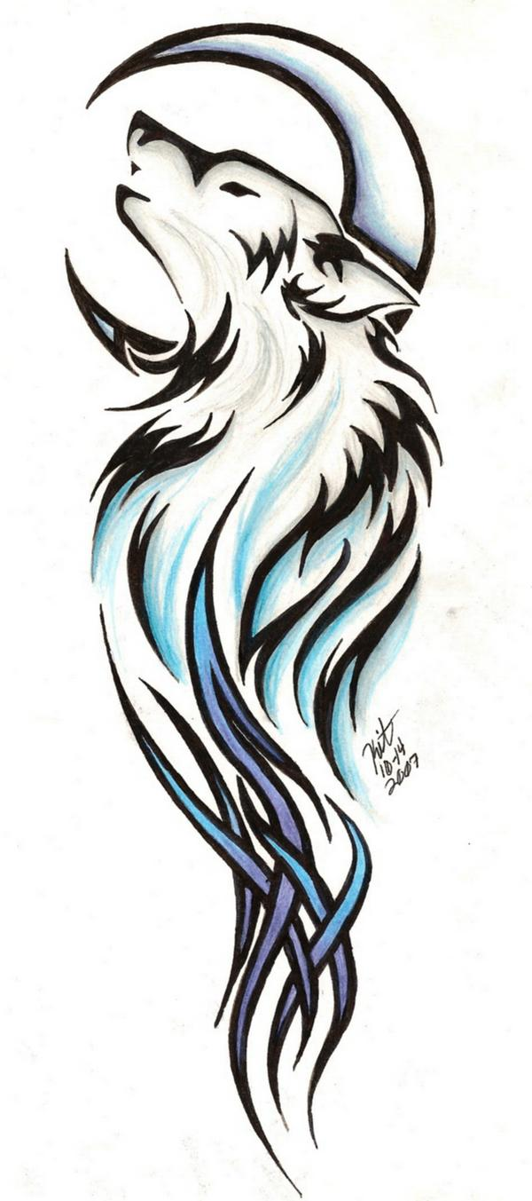 awesome moon and tribal wolf head tattoo design. Black Bedroom Furniture Sets. Home Design Ideas