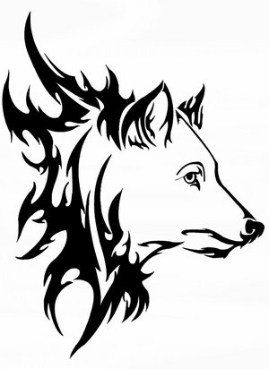 Awesome Tribal And Wolf Head Tattoo Design