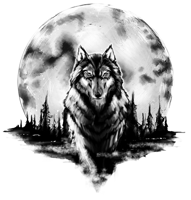 beautiful moon and wolf tattoo design. Black Bedroom Furniture Sets. Home Design Ideas