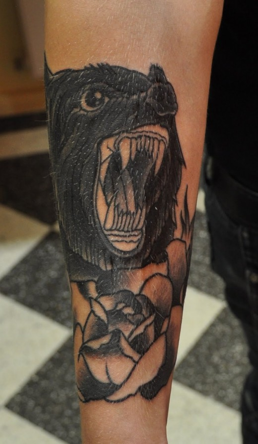 Black Rose Flower And Wolf Tattoo On Sleeve