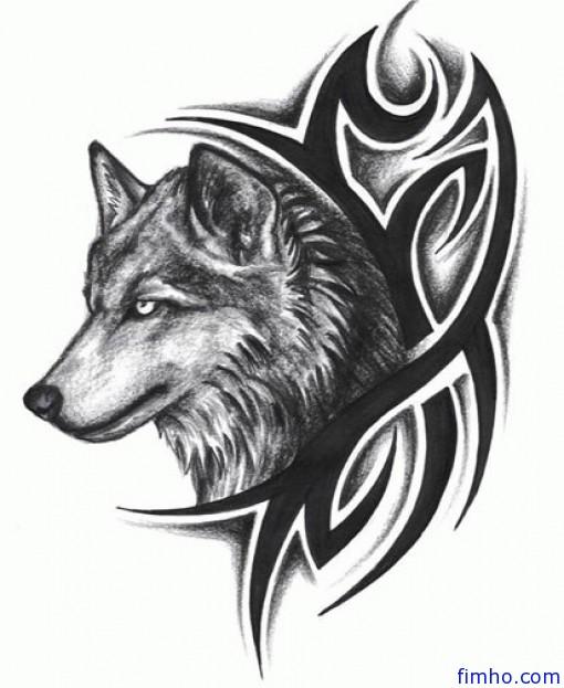 Tribal Design And Wolf Head Tattoo
