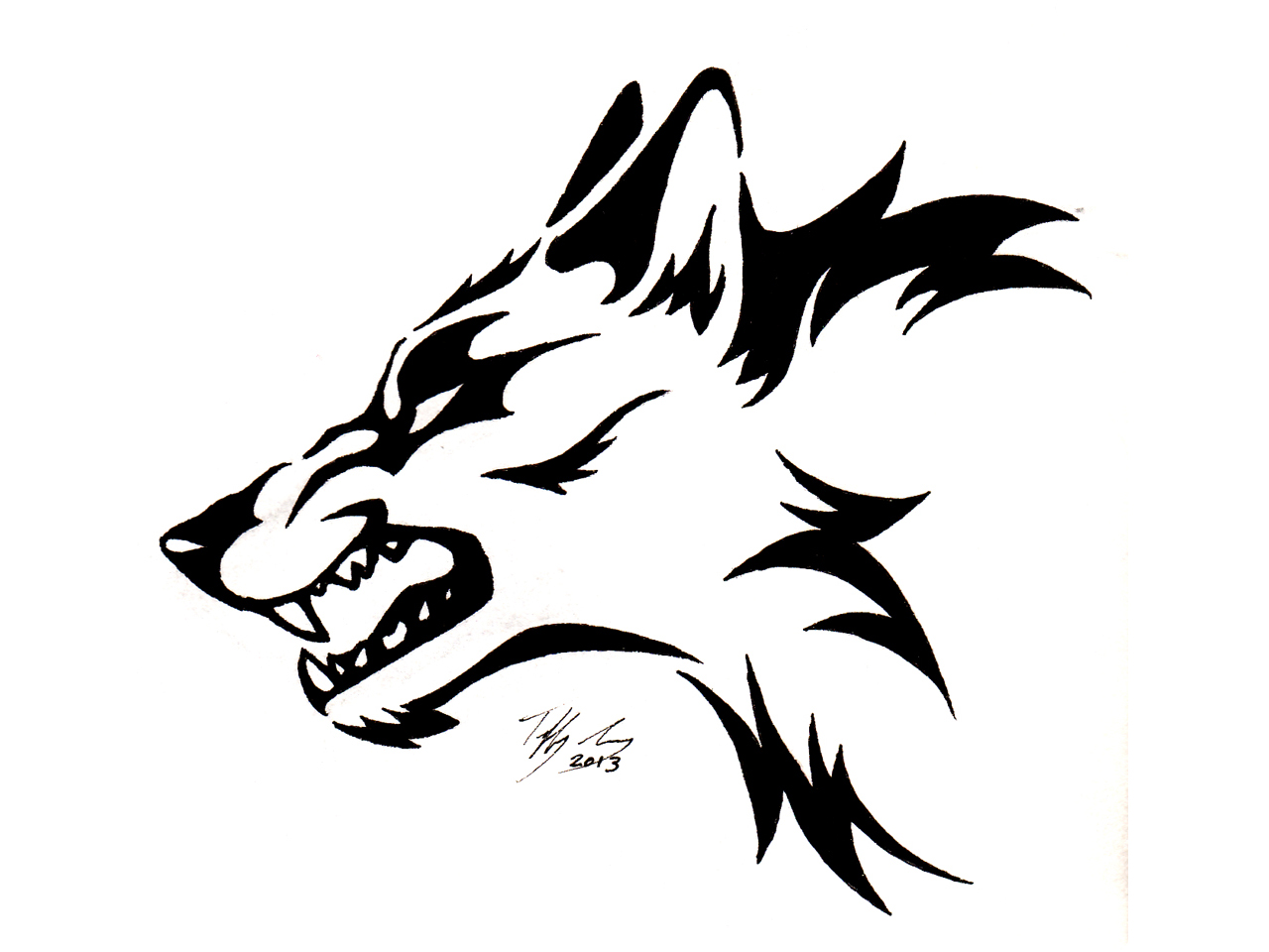 the gallery for tribal drawings of wolves. Black Bedroom Furniture Sets. Home Design Ideas