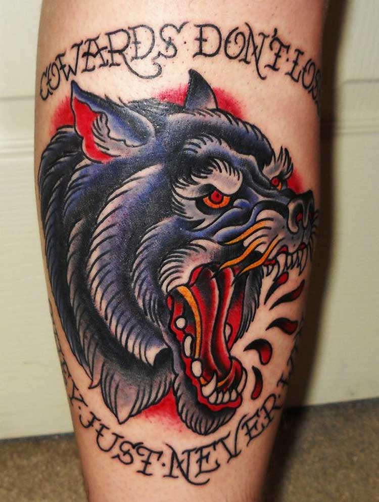 Colored Angry Wolf Tattoo On Leg