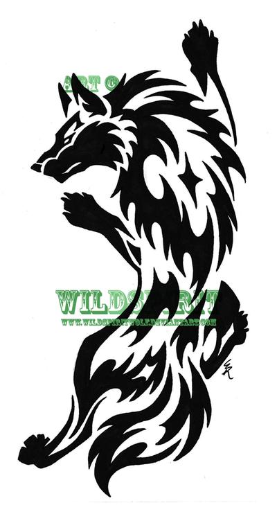 Crazy Black Tribal Wolf Tattoo Design