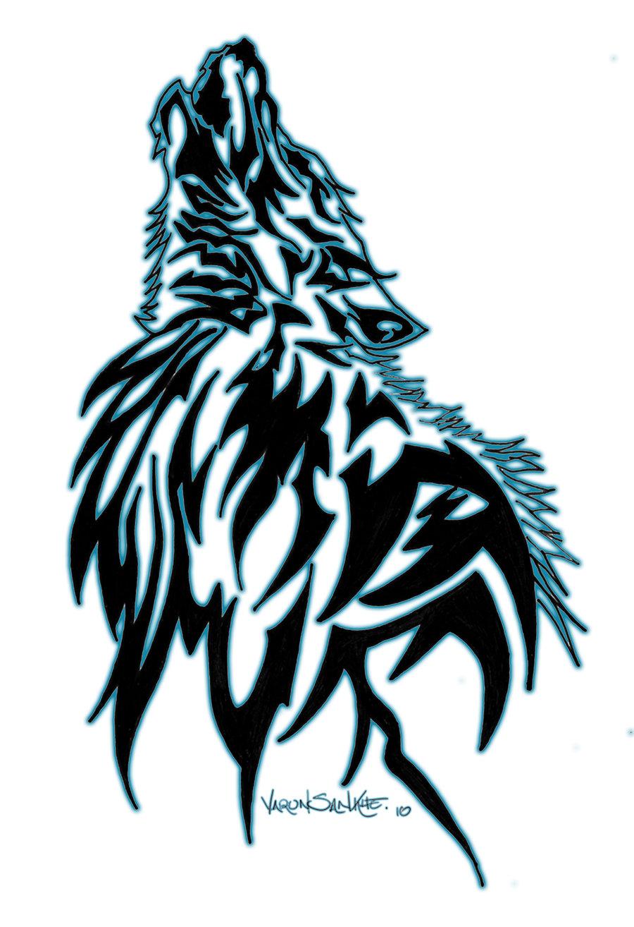 Crazy Tribal Wolf Head Tattoo Design