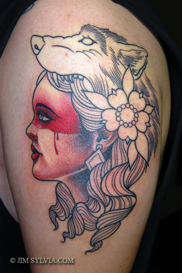 Girl Head And Wolf Head Tattoo On Left Shoulder