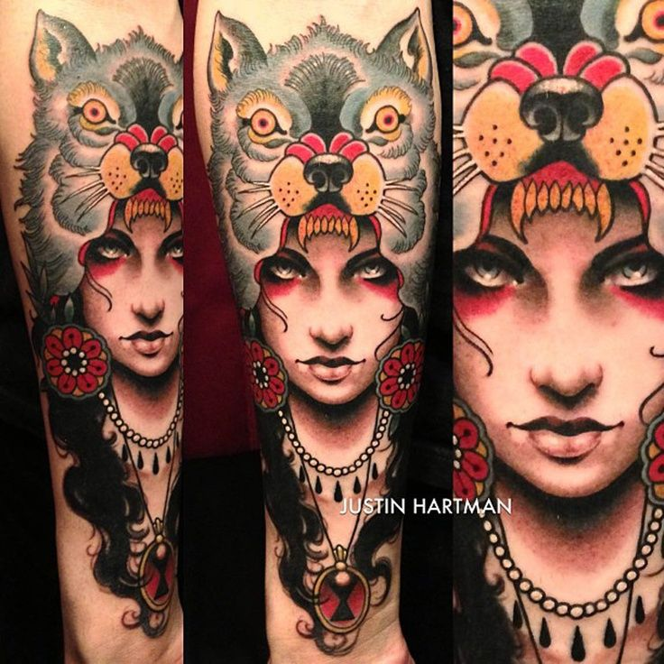 Girl With Wolf Head Tattoo