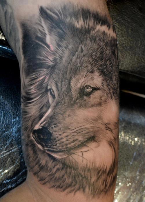 Grey ink wolf head tattoo on half sleeve for Wolf head tattoos