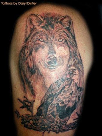 grey ink wolf tattoo design for half sleeve. Black Bedroom Furniture Sets. Home Design Ideas