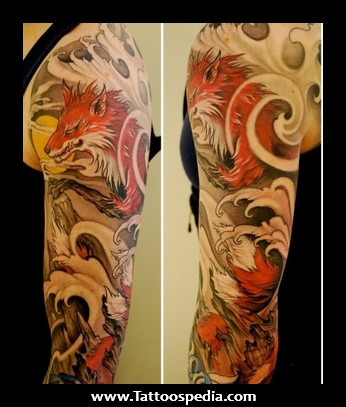 011b98891 Japanese Wolf Tattoo On Sleeve