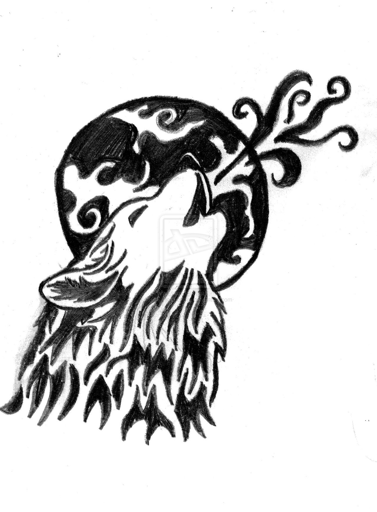 Wolf Moon Drawing Moon And Howling Wolf Tattoo
