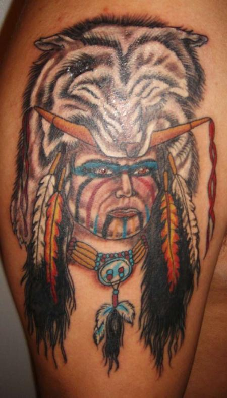 native wolf tattoo on right shoulder. Black Bedroom Furniture Sets. Home Design Ideas