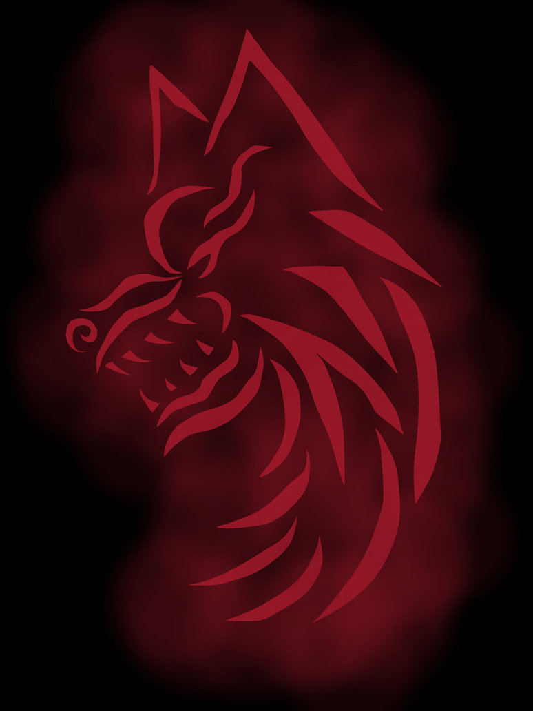 Red Tribal Wolf Tattoo Design