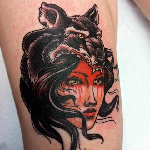 Taditional Gypsy Wolf Tattoo