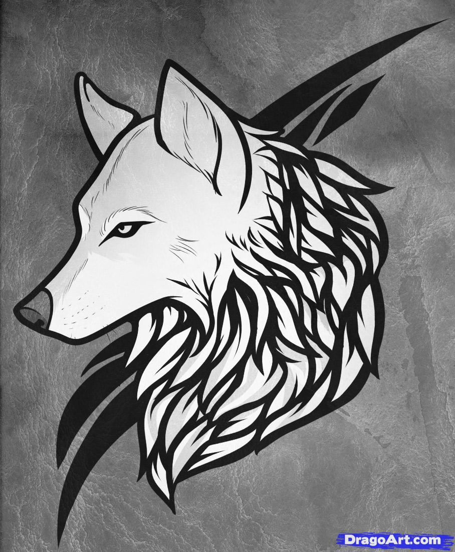 Cool Tribal And Wolf Head Tattoo Design